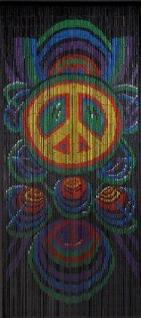 Amazon.com: Bamboo Beaded Door Curtain-- Choose Your Design!!-- Peace Signs-- Cosmic Blast-- Tye Dye-- High Quality Door Beads!! (3ft x 6.5ft, Peace Signs): Home & Kitchen