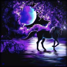 purple unicorns | purple unicorn in moonlight | My Purplest