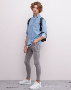 :SUPER SKINNY JEANS GREY DIRTY