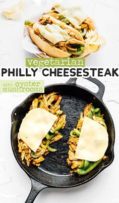 This vegetarian Philly Cheesesteak transforms oyster mushrooms into the perfect substitute for beef! With sautéed peppers and onions and loads of melted cheese, this is the best meatless cheesesteak. Vegetarian Sandwich Recipes, Vegetarian Lunch, Vegetarian Recipes Dinner, Vegan Dinners, Lunch Recipes, Vegetable Recipes, Cooking Recipes, Beginner Vegetarian, Cheesesteak Recipe