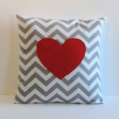 gray and white zig zag pillow cover with red appliqued heart, valentines day decor, 18X18. $28.00, via Etsy.