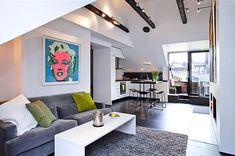 50 Stunning Small Apartment Living Room Decor Ideas - Home Decor & Design Small Apartment Design, Small Apartment Living, Apartment Interior Design, Living Spaces, Small Living, Attic Apartment, Living Rooms, Stockholm Apartment, Apartment Plans