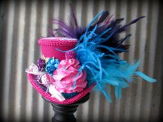 Fuchsia and Turquiose Cupcake Mini Top Hat, Mad hatter Hat, Alice in Wonderland Hat, Tea Party Hat, Candy Land Mini Hat, Kentucky Derby Hat on Etsy, $72.00