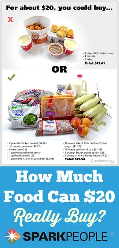 $20 Food Showdown: Fast Food vs. Healthy Food. Great visuals of what $20 will buy you at the drive-thru and grocery store. Great food for thought. | via @SparkPeople #health #nutrition #diet #weightloss #food #budget #money #shopping #foodshopping