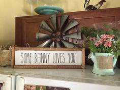 Some Bunny Loves You This is my fav sign in the house! So cute the kids love it friends love it and I love it!!! choose from any of our pastel easter and spring colors. Free shipping #easter #farmhouse #homedecor