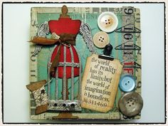 Sew, sew, sew... what's keeping you from creating? This is pure inspiration! Layered with goodness after goodness, this collage is created with Tim Holtz's Sizzix Mini Sewing Room Die, Bird Cage Die, Distress Inks, Rubber Stamps, and Accoutrements Buttons add a great look. Pick these up and more in our store!