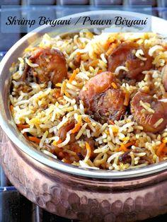 Saras's Kitchen: Hyderabadi Shrimp Biryani / Shrimp Dum Biryani / P. Rice Recipes, Seafood Recipes, Indian Food Recipes, Asian Recipes, Chicken Recipes, Cooking Recipes, Healthy Recipes, Recipies, Arabic Recipes