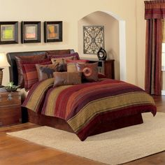 $9.99 to $349.99  Plateau Bedding Collection - Inspired by the late afternoon sunlight playing upon the iconic plateaus of the American Southwest, this collection blends a variety of fabrications to make a memorable statement. Comforter is in chenille featuring bold, jewel-toned stripes with intricate diamond detailing on a olive background. Standard shams offer a bold chenille stripe pattern with flange. Bed skirt is in a deep and rich distressed leather. #CroscillSocial