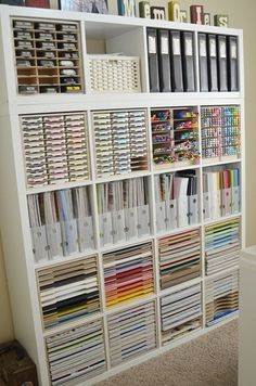 Jeanne S has beautifully organized her craft room with IKEA shelving and Stamp-n-Storage cabinets that are designed just for the Kallax. http://www.stampnstorage.com/blog/october-studio-showcase-winner/