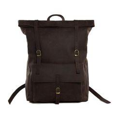 Roll Top Genuine Leather Backpack Travelling Backpack Weekend Bag MG31