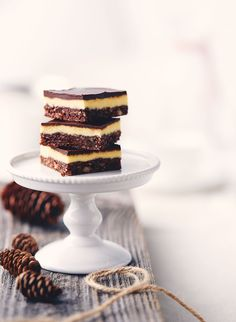 Classic Nanaimo Bars—The pride of Nanaimo, B.C., these bars have a crumb base layered with a creamy custard filling and a chocolaty topping. Best served at room temperature, the bars keep well refrigerated or frozen.