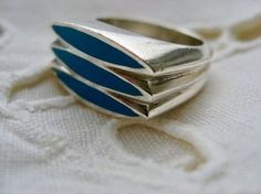 Poul Warmind (DK), modernist sterling silver ring with turquoise inlay, 1970s. #denmark | finlandjewelry.com #forsale