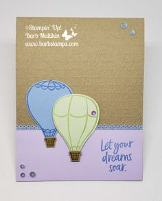 Thanks for stopping by, the Color Fusers have another great color combination for you this month! We are using Soft Seafoam, Seaside Spray and Purple Posy on our projects today. I decided to use the the Above the Clouds for. Air Balloon, Balloons, Stampin Up Catalog, Above The Clouds, Paper Pumpkin, 3d Projects, Embossing Folder, Stampin Up Cards, Fun Crafts