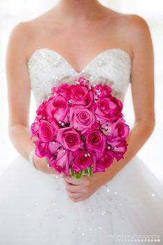 Hot pink sparkle wedding bouquet