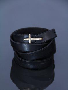 MA Leather Hook Cross Buckle Slim Belt