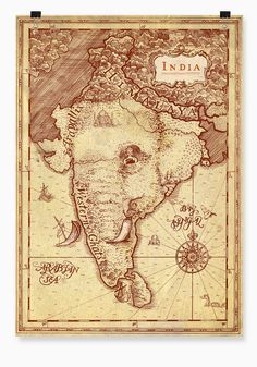 India as an elephant, map art. Vintage India, Vintage Maps, Antique Maps, Vintage Travel Posters, Ancient Maps, India Map, India Poster, History Of India, Retro Poster