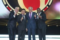 Golfing great Greg Norman with Organo Gold Founders Bernie Chua and Shane Morand and VP Sales Holton Buggs Holton Buggs, Greg Norman, I Love Coffee, One Team, Wealth, People, Gold, Image, People Illustration