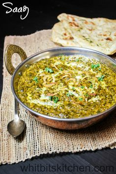 Saag - A vitamin powerhouse of mixed greens simmered in Indian spices. Perfect with naan and rice.Saag - A vitamin powerhouse of mixed greens simmered in Indian spices. Perfect with naan and rice. Indian Food Recipes, Asian Recipes, Healthy Recipes, Ethnic Recipes, Indian Snacks, Indian Appetizers, Healthy Food, Vegetarian Comfort Food, Indian Vegetarian Recipes