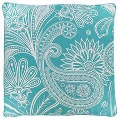 Turquoise and white paisley and floral print pillow. Exactly the colors I am using for our new beach themed bedroom