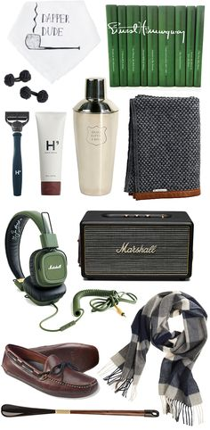 Gifts for him, holiday gift ideas, Ernest Hemingway book set, dapper dude handkerchief, shaving kit, fabric knot cuff links, cocktail shaker, Marshall speaker, Marshall headphones, cashmere scarf, leather house  slippers, shoe horn
