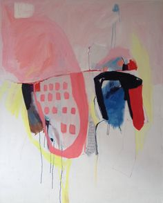 LARGE ABSTRACT PAINTING, oil painting, blue, pink, red yellow, modern, expressionist painting.