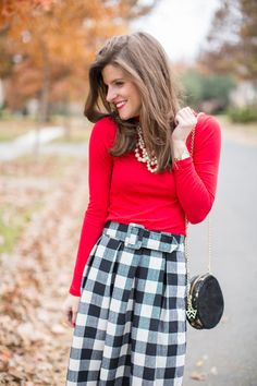 Holiday Check Midi Skirt + Punch of Red