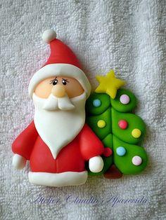 Imã ou Aplique Papai Noel com árvore