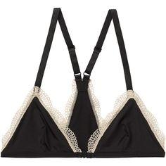 Monki Paris bra (110 ARS) ❤ liked on Polyvore featuring intimates, bras, underwear, lingerie, black magic, triangle bras, lingerie bra and monki