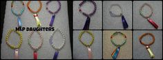 My Little Pony bracelets for children, colourful pearl beads and ribbon Tail Tassels
