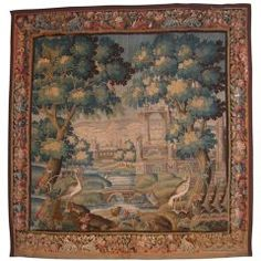 Flemish portico garden tapestry,Flandres 17th Century