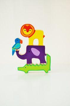 Zooble lumineux et animaux de la Jungle sauvage - jeu d'équilibre - jouet en bois - bois jouet empilable on Etsy, 14,33€