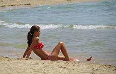 Pretty girl on Gordon Beach in Tel Aviv, Israel