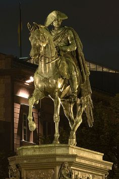 "Berlin Ctiy Tour at night - Statue Frederick The Great / Famous sculpture of Frederick The Great, a Prussian king, which can be found on the avenue ""Unter den Linden"" in Berlin-Mitte. Frederick The Great, Frederick William, Berlin, Friedrich Ii, Famous Sculptures, Equestrian Statue, Seven Years' War, Baroque Art, World Cities"