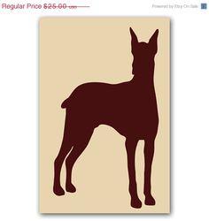 20% OFF SALE Doberman Dog Silhouette for Dog lover in brown color, Fine art print , wall decor , illustration , pet ,animal. $20.00, via Etsy.