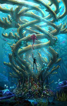 The Infinite Tree--Concept for Subnautica, Pat Presley on ArtStation at https://www.artstation.com/artwork/EavAK