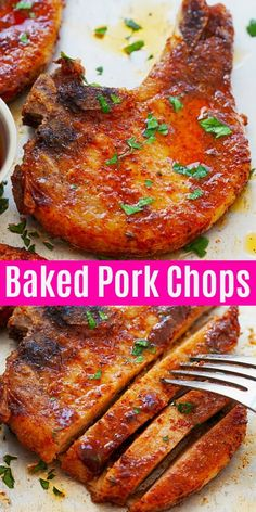Baked Pork Chops - Tender Pork Chops in Oven - Rasa Malaysia Baked Pork Chops~ Juicy and easy baked pork chops with only four ingredients: bone-in chops, dry rub, butter and thyme. This is the best and tender pork chops you'll ever make - Rasa Malaysia Tender Pork Chops In Oven, Best Baked Pork Chops, Juicy Pork Chops, Dry Rub Pork Chops, Pork Chop Marinade Baked, Bone In Pork Chop Recipe Oven, Pork Chop Bone In, Oven Roasted Pork Chops, Slow Cooking