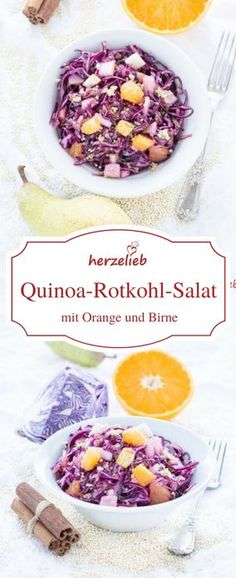Salat mit Rotkohl, Quinoa, Orange, Birne und einem Hauch Zimt. Rezept von herzelieb.
