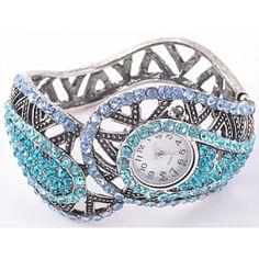 Wholesale Blue rhinestone Crystal Cuff Watch Bangle