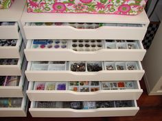 These cabinets are found at IKEA. They are part of the Alex series. I bought jewelry organizers and used those to sort my embellishments.