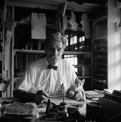 "Albert Schweitzer, by George Rodger via Magnum Photos, Lambarene, French Gabon. At his writing desk; his kitten ""Pierrette"" sits on his manuscript. ""There are two means of refuge from the miseries of life: music and cats. I Love Cats, Cool Cats, Luther, Celebrities With Cats, Celebs, Men With Cats, Albert Schweitzer, Son Chat, Historical Images"