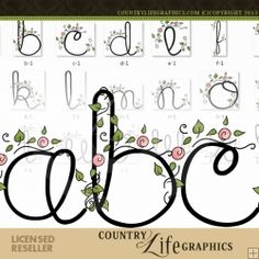 Flourish 1 - Alpha by Country Life Graphics : Digi Web Studio, Clip Art, Printable Crafts & Digital Scrapbooking! Embroidery Alphabet, Hand Embroidery Designs, Embroidery Applique, Embroidery Patterns, Machine Embroidery, Thing 1, Monogram Letters, Lana, Hand Lettering