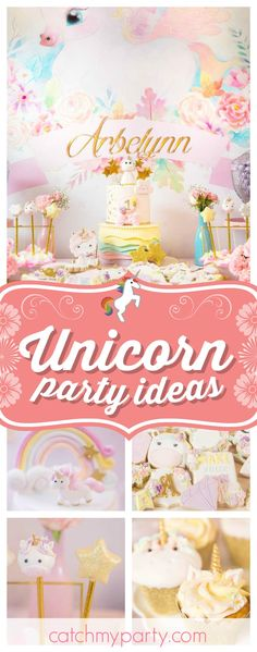 Take a look at this wonderful Baby Unicorn 1st Birthday! The unicorn and star cake pops are adorable!! See more party ideas and share yours at CatchMyParty.com