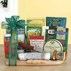 - Description - Specifications Send the ultimate cheese and meat gourmet assortment along with a wooden cutting board! Items included: 1 - Bamboo Cheese Board, 1 - Water Crackers, 2 oz, 1 - California