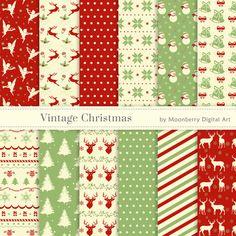 20% OFF SALE Vintage Christmas Digital Papers. 12 images (12x12'' - 300dpi). Instant Download.