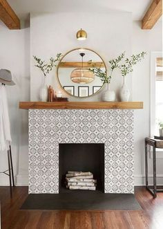 = fireplace inspiration, tile fireplace with mirror and plants, birch wood fireplace decor ideas decor home dining room hutch home decor wood decor decor home inspiration house Fireplace Mirror, Wood Fireplace, Fireplace Design, Tile Around Fireplace, Farmhouse Fireplace, Decorative Fireplace, Modern Fireplace Decor, Modern Fireplaces, Above Fireplace Decor