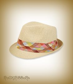 Summer fedora hat in classic natural straw with pretty tailored trim.