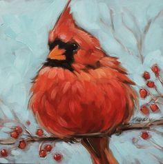 5 x 5 impressionniste original peinture à l'huile par LaveryART #OilPaintingBirds