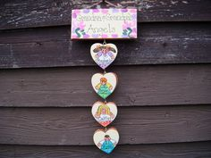 Grandparent plaque with hanging hearts by LazyHoundWorkshop, $17.00