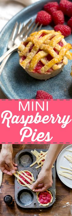 Mini Pies in a muffin tin. Easy recipe to make; sub any type of fruit to make the cutest hand pies! @DessertForTwo