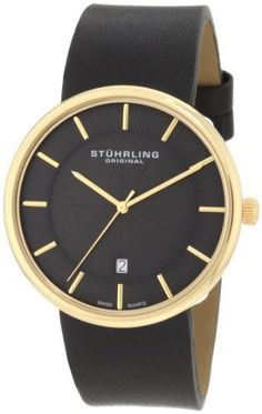 Stuhrling Original Men's 244.333554 Classic Ascot Fairmount Swiss Quartz Date Ultra Slim Black Watch Stuhrling Original. $99.00. Black matte finish dial with hydraulically stamped pattern and goldtone markers and hands. Classic three hand swiss quartz movement with quick set date complication at six o'clock position. 23k yellow gold layered stainless steel case with protective krysterna crystal. Water-resistant to 50 m (165 feet). Black 23mm tapered genuine leather strap wi...